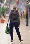 Женский теплый  спортивный костюм из трикотажа трехнитки на флисе хаки 6739, фото 3