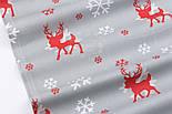 """Ткань новогодняя  """"Красный оленёнок и белые снежинки"""" фон серый, №3006, фото 5"""