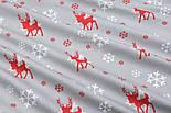 """Тканина новорічна """"Червоний оленя і білі сніжинки"""" фон сірий, №3006, фото 4"""