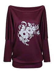 Бордовая женская кофта Букет больших размеров с вырезом