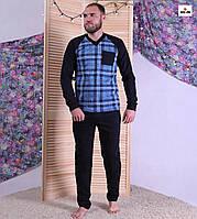 Пижама мужская начос теплая в клетку синяя кофта со штанами 44-60р.