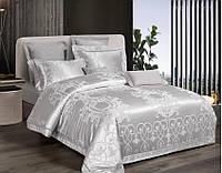 Комплект постельного белья Bella Villa Евро сатин жаккард с кружевом серый