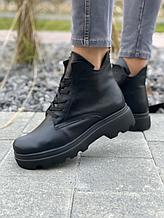 Женские ботинки кожаные весна/осень черные Vladeks байка