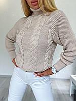 Стильный вязаный свитер с объёмными рукавами, фото 1