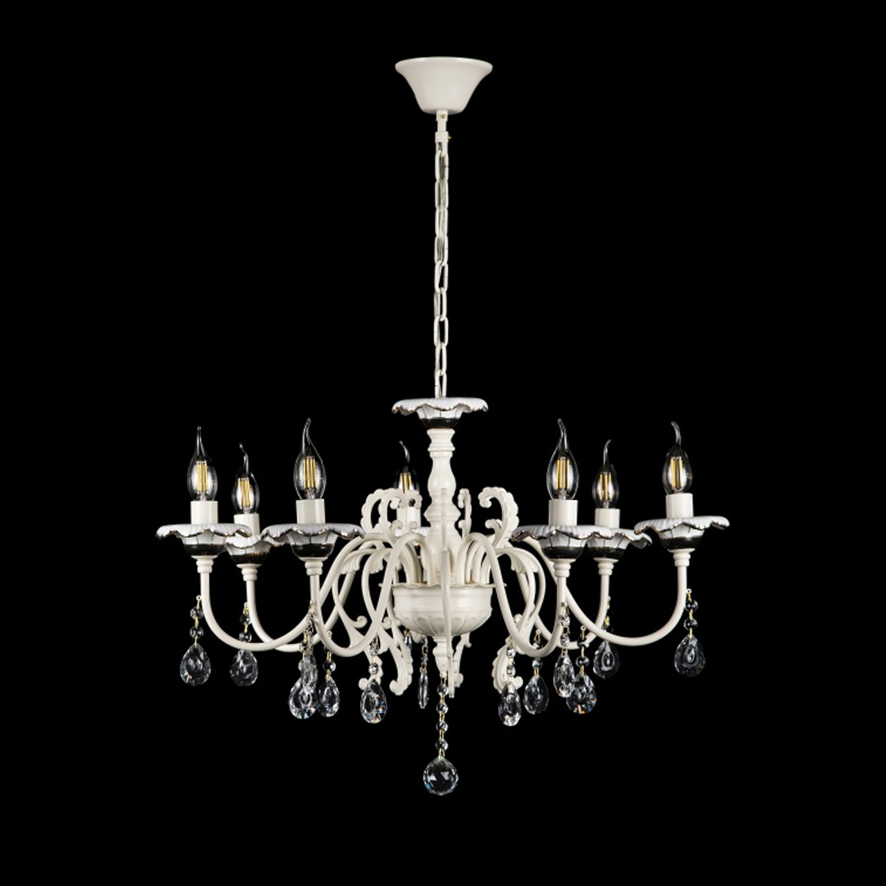Люстра-свеча на 7 лампочек белый каркас СветМира VL-L30853B/7 (YH MJ)