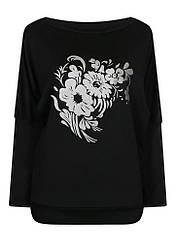 Женская черная кофта Букет больших размеров с вырезом