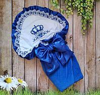 Синий конверт на выписку с вышивкой и кружевом для новорожденных, фото 1