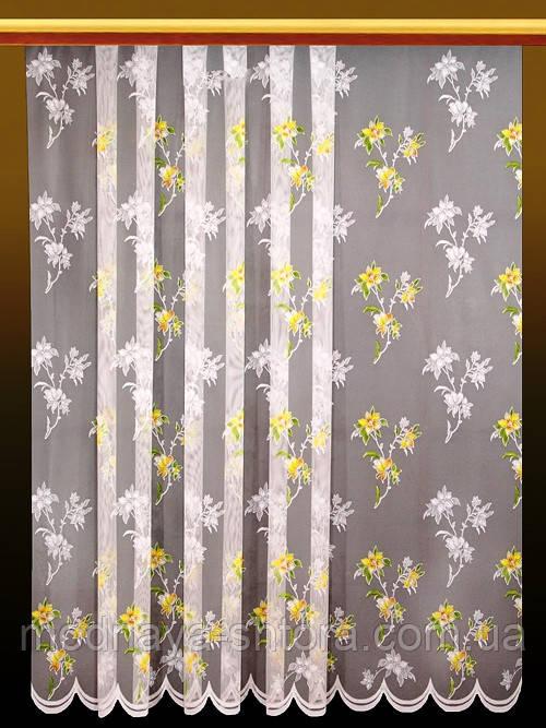 """Жаккардовый тюль """"Цветочная метелица"""" (белый), высота 250 см"""