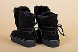 Женские черные замшевые угги со шнуровкой, фото 2