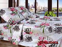 """Семейный набор хлопкового постельного белья из Бязи """"Gold"""" с простынью на резинке №147237 Черешенка"""
