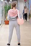 Жіночий теплий спортивний костюм з худі сіро-рожевий 8185, фото 3