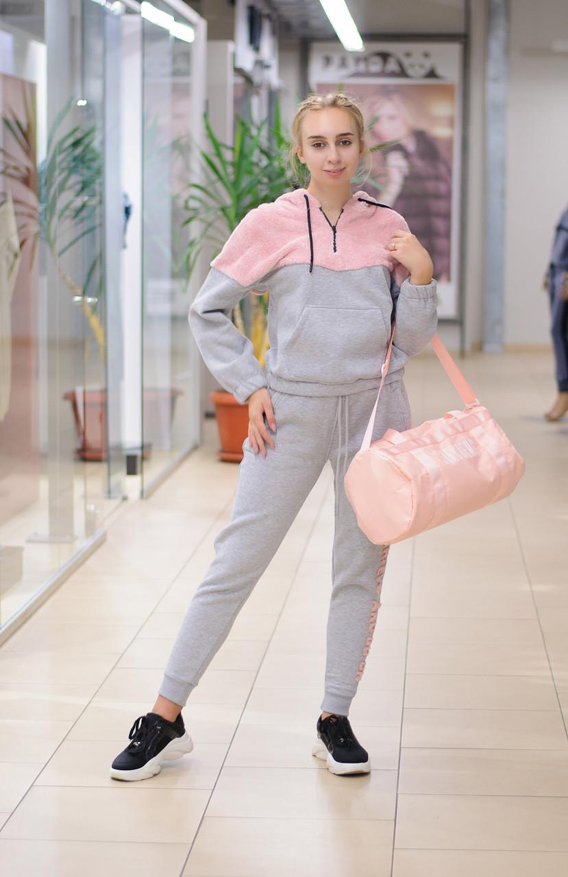 Жіночий теплий спортивний костюм з худі сіро-рожевий 8185