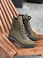 Стильні жіночі зимові шкіряні черевики Vikont 7-7-32 зеленого кольору