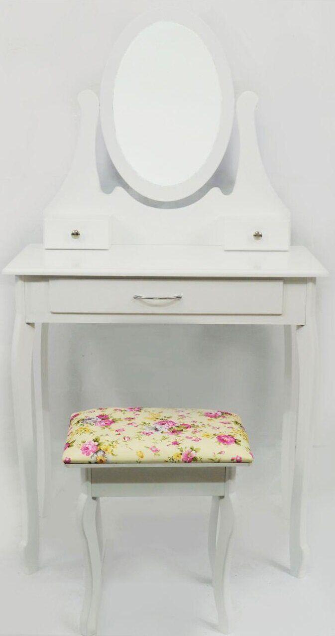 Столик туалетный Bonro B007W белого цвета с зеркалом и стульчиком