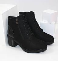 Классические замшевые демисезонные ботинки на удобном каблуке черного цвета, фото 1