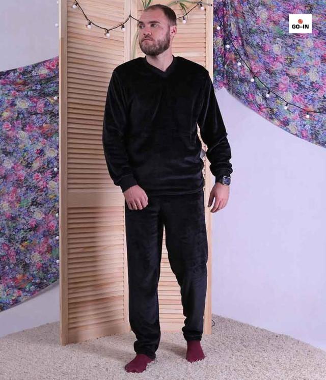 Пижама мужская махровая теплая черная, домашняя пижама зимняя однотонная батал 44-60р.