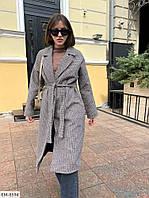 Женское теплое серое пальто клетчатое