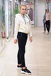 Жіночий зимовий спортивний костюм з худі молочний з чорним 8185, фото 2