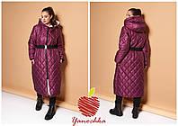 Женское Зимнее Пальто с поясом Батал, фото 1