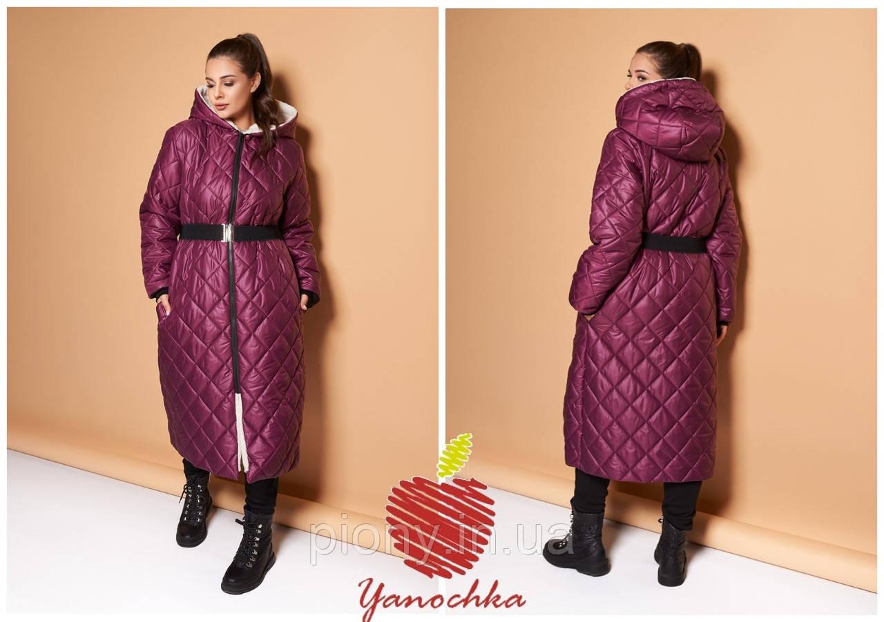 Женское Зимнее Пальто с поясом Батал