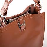 Квадратная женская сумка из натуральной кожи разные цвета на 3 отделения, фото 4