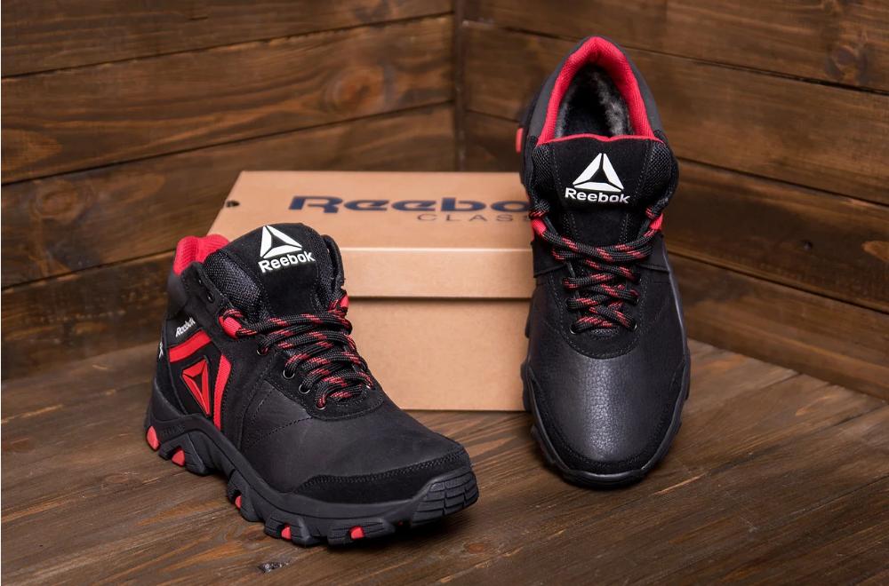 Ботинки мужские кожаные Reebok чёрные реплика