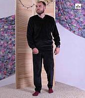 Теплая мужская пижама махровая черная домашняя пижама зимняя однотонная батал 44-60р.