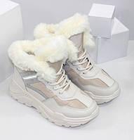 Кросівки жіночі зимові бежевого кольору на хутрі