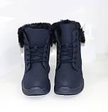 Ботинки женские зимние темно-синего цвета на меху, фото 5