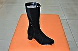 Сапоги женские на каблуке замшевые черные 134020, фото 3