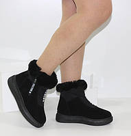 Жіночі зимові замшеві черевики чорного кольору з опушкою на платформі