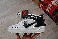 Мужские кроссовки Nike Air Force 1 07 Mid LV8 (бело-черные) D37