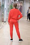 Женский стильный  теплый спортивный костюм со свитшотом трехнитка красный  8485, фото 2