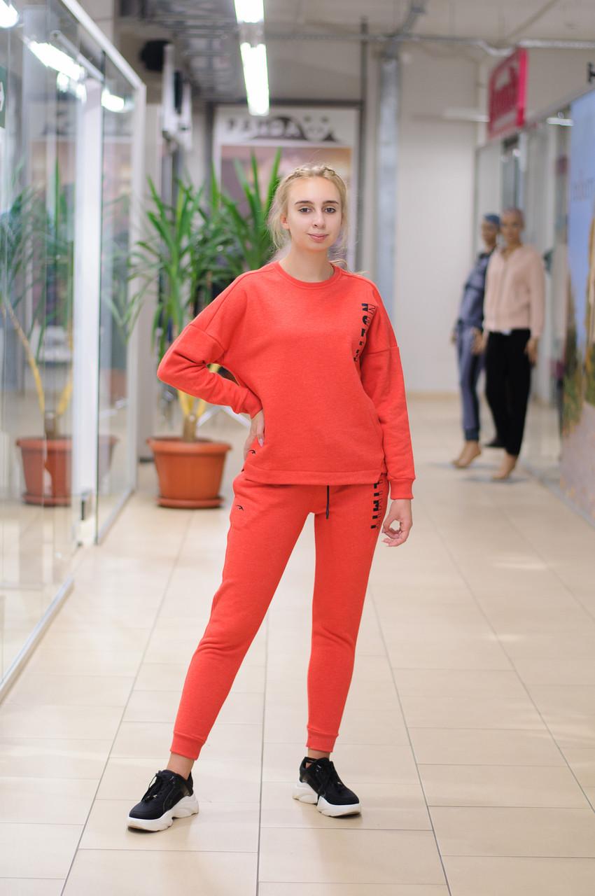 Женский стильный  теплый спортивный костюм со свитшотом трехнитка красный  8485