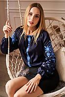 """Женская вышиванка """"Марго"""" темно синий+синий, фото 1"""