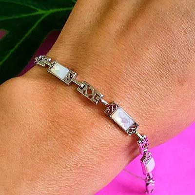 Срібний жіночий браслет з перламутром - Срібний браслетик з перламутром