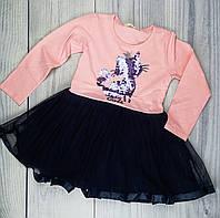 Платье для девочек Кошечка пайетки Розовый/синий Хлопок Breeze Турция