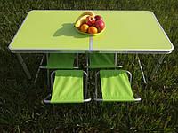 Стол для пикника усиленный с 4 стульями Folding Table 120х60х55/60/70 зелёный