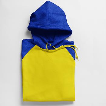 Однотонная толстовка с контрасным капюшоном мужская размер XS, цвет СИНИЙ/ЖЕЛТЫЙ