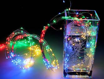 Гирлянда Лучи Росы, Конский Хвост Мультицвет 2 м, 200 LED, 10 Нитей от Сети 220В