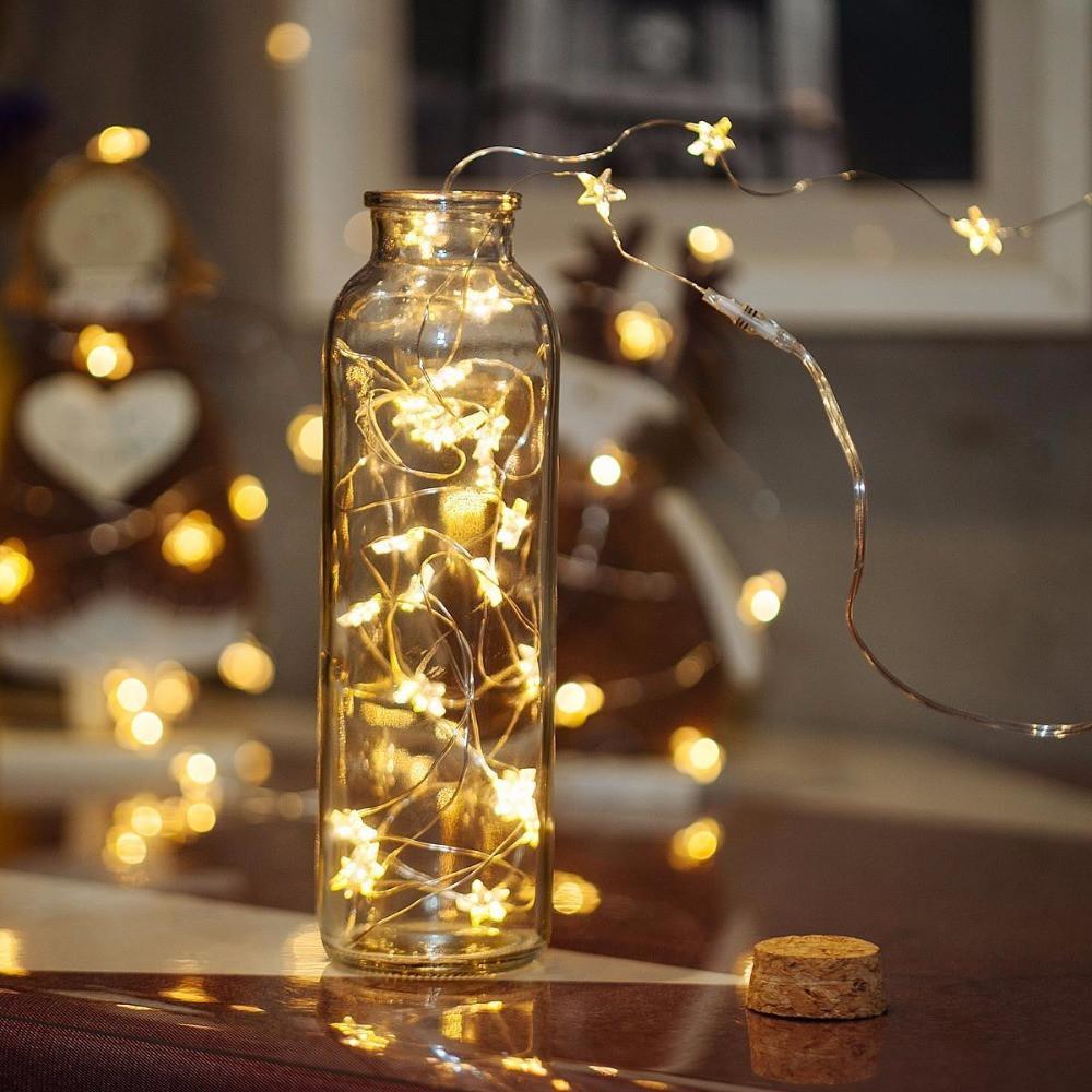 Гирлянда звездочки на проволке светодиодная 2 м, золото, от сети