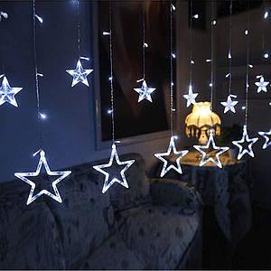 Гирлянда занавеска звездочки светодиодная 2,5 м, белый, от сети