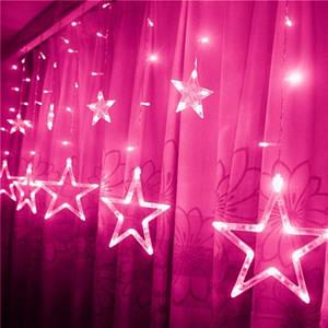 Гирлянда Новогодняя Штора Звездный занавес 3х1 м Розовая
