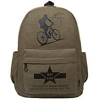 Рюкзак молодёжный BAIYUN брезентовый 43х31x17 цвет хаки ксВУ135х