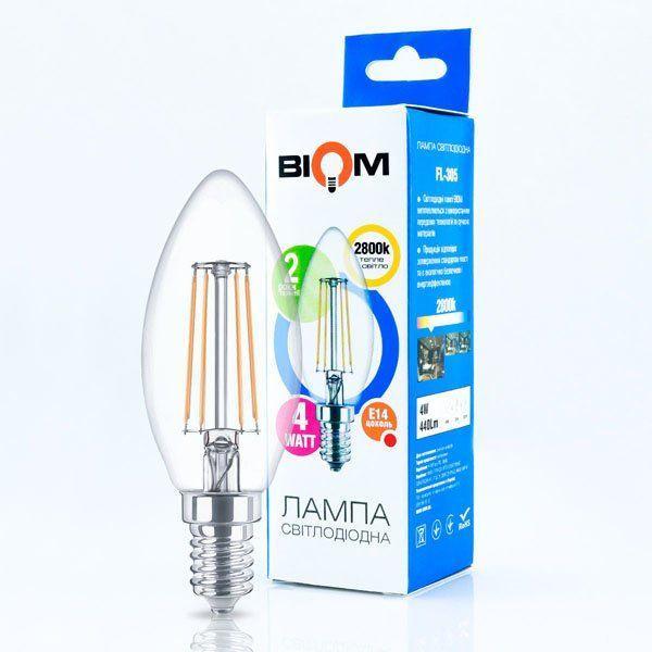 Светодиодная лампа филамент свеча C37 4W теплый свет 3000К цоколь E14 Biom FL-305