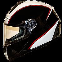 Мотошлем FXW HF-122 solid black-white закрытый шлем интеграл, full-face глянцевый чёрно-белый, фото 1