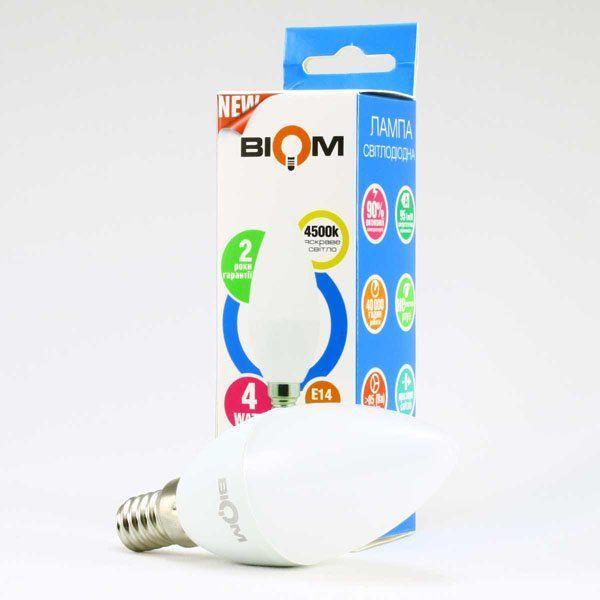Светодиодная лампа филамент свеча C37 4W нейтральный свет 4500К цоколь E14 Biom FL-306