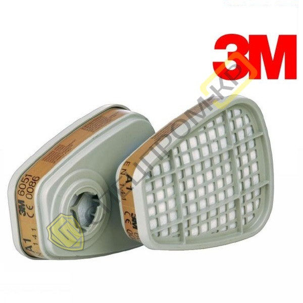 6051 Фильтр 3М с защитой от органических газов и паров (класс защиты A1)