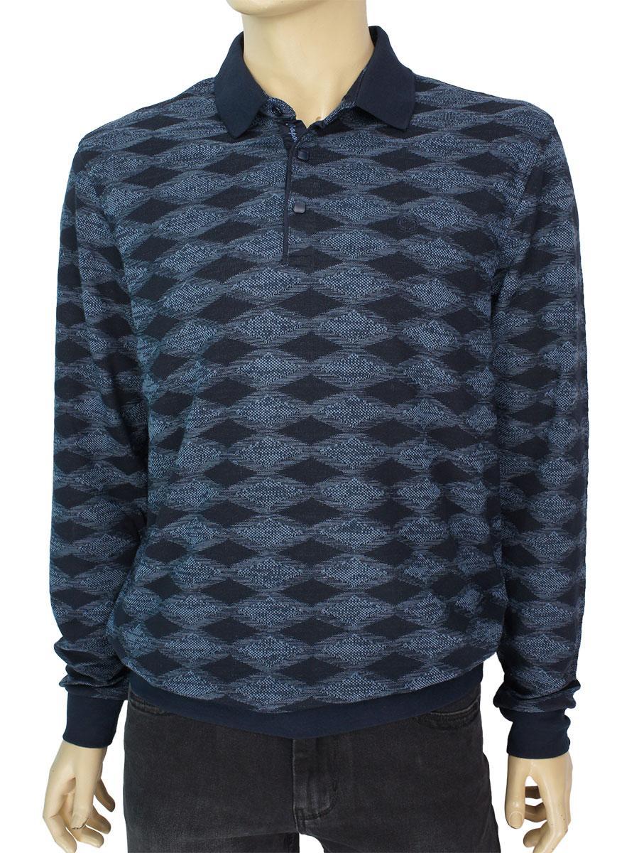 Мужской комбинированный свитер Caporicco 9245 H Indigo воротник-поло
