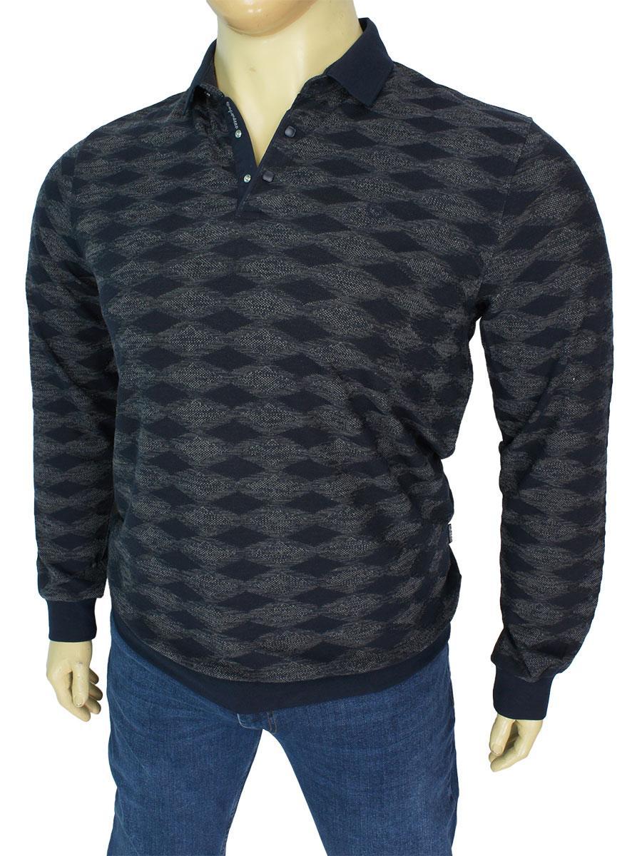 Мужской свитер с воротником-поло Caporicco 9245 В Gri в большом размере